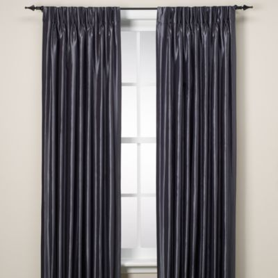 Argentina Pinch Pleat Panel Back Tab Interlined 84-Inch Window Curtain in Peacock