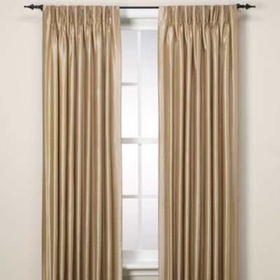 Argentina Pinch Pleat Panel Back Tab Interlined 84-Inch Window Curtain in Linen