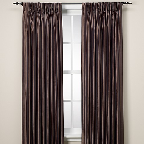 Argentina Pinch Pleat Back Tab Interlined 120-Inch Window Curtain Panel in Chocolate