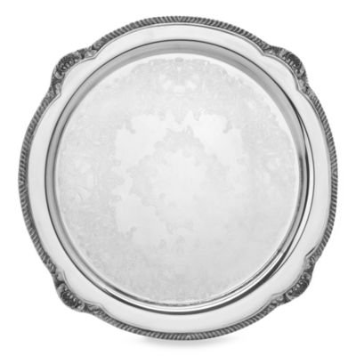 "Reed & Barton Shell and Gadroon 15"" Round Silverplate Serving Tray"
