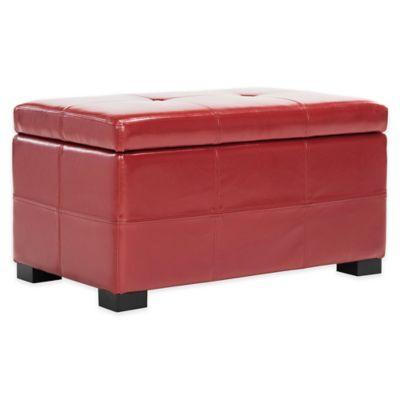Safavieh Hudson Leather Maiden Tufted Small Storage Ottoman in Red