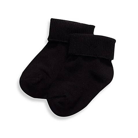 BE Basic™ 2T - 3T Turn Cuff Socks in Black