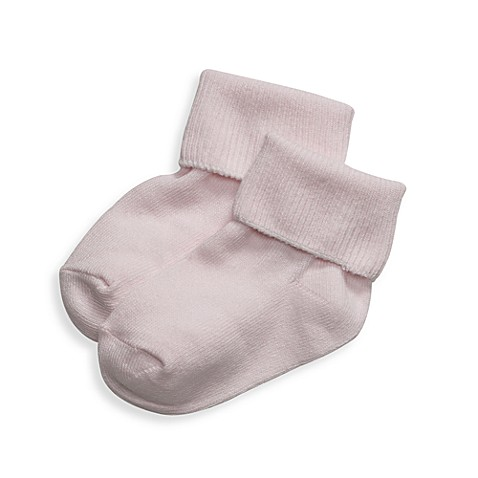 BE Basic™ 0 - 6M Turn Cuff Socks in Light Pink