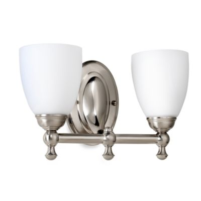Bel Air Lighting Opal Glass Brushed Nickel 2-Light Bathroom Lighting Fixture
