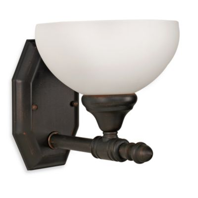 Bel Air Lighting Opal Glass Oil Rubbed Bronze Single Light Bathroom Fixture