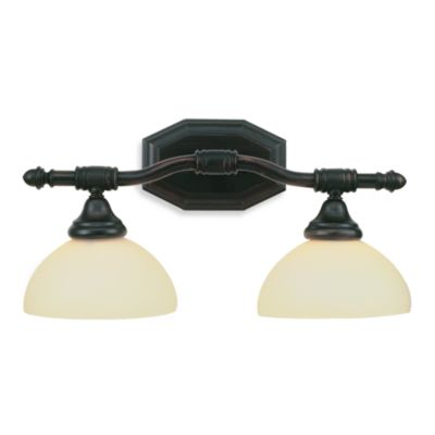 Bel Air Lighting Opal Glass Oil Rubbed Bronze Double Light Bathroom Fixture