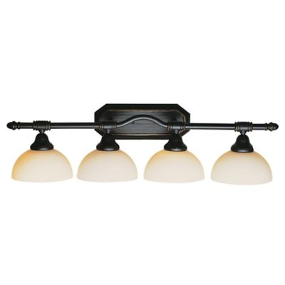 Bel Air Lighting Opal Glass Oil Rubbed Bronze Four Light Bathroom Fixture