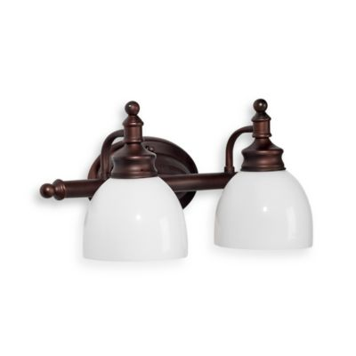 Bel Air Lighting Oil Rubbed Bronze and Opal Glass 2-Light Bath Bar