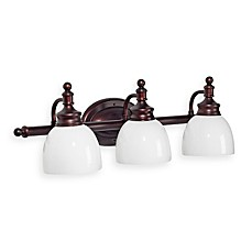 Bel Air Lighting Oil Rubbed Bronze and Opal Glass 3-Light Bath Bar
