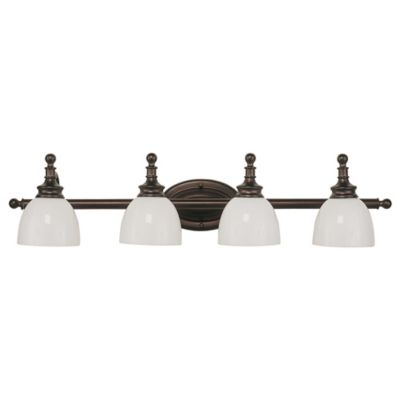 Bel Air Lighting Oil Rubbed Bronze and Opal Glass 4-Light Bath Bar