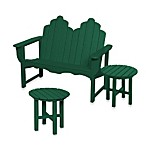 Beachfront Furniture Collection Adirondack Bench and Table - Green