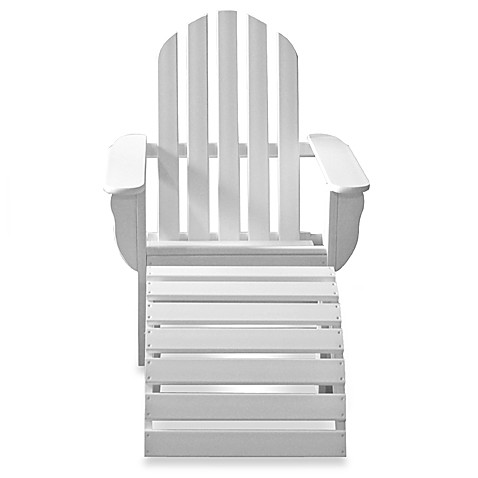 Beachfront Furniture Collection Adirondack Chair & Footstool in White