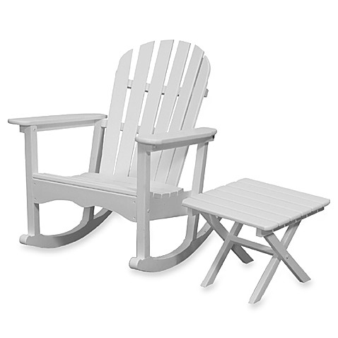 Beachfront Furniture Collection Adirondack Rocking Chair & Square Side Table in White