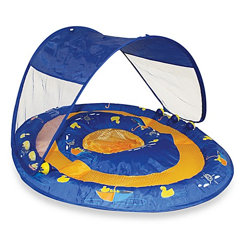 Swimways swimming pool float with canopy dock blue for Pool canopy bed
