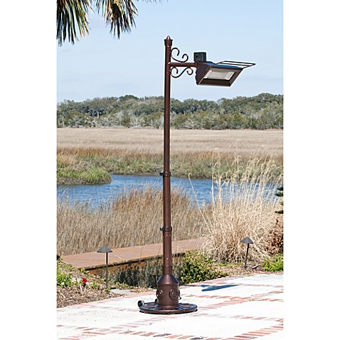 Well Traveled Living Hammer Tone Bronze Scroll Design Pole Mounted Infrared Patio Heater