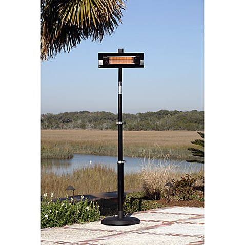 Well Traveled Living Black Powder Coated Steel Telescoping Offset Pole Mounted Infrared Patio Heater