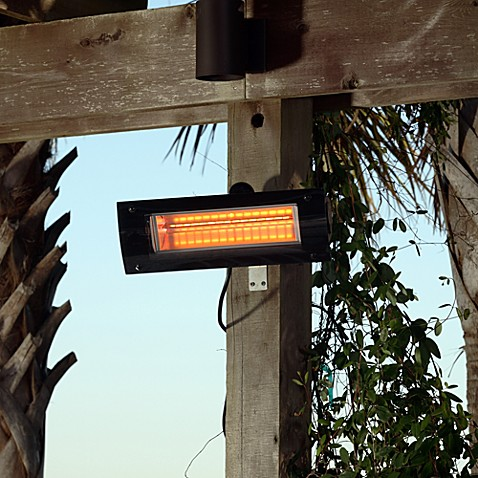 Well Traveled Living Black Steel Wall Mounted Infrared Patio Heater w/ Glass Front