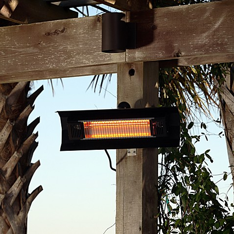 Well Traveled Living Black Steel Wall Mounted Infrared Patio Heater