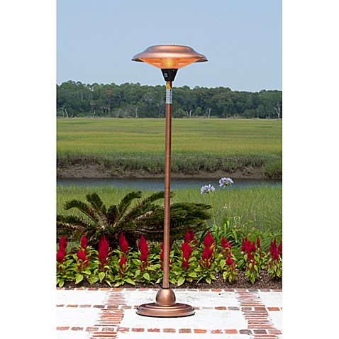 Well Traveled Living Copper Finish Floor Standing Round Halogen Patio Heater