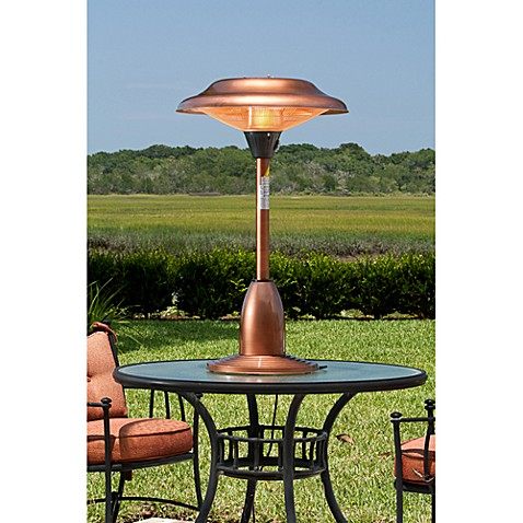 Well Traveled Living Copper Finish Table Top Round Halogen Patio Heater