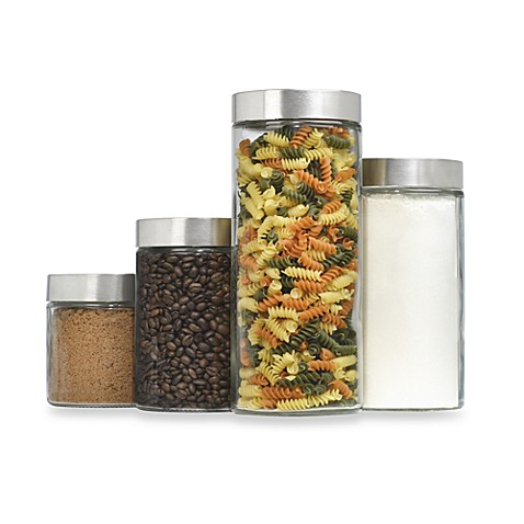 Anchor Hocking® Glass CylinderCanisters with Stainless Steel Lids (Set of 4)