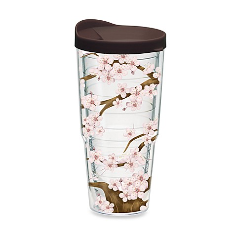 Tervis® Cherry Blossom Wrap Tumber with Brown Lid in 24-Ounce