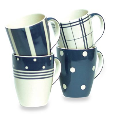 Euro Ceramica Kitchen Blue 14-Ounce Mug (Set of 4)