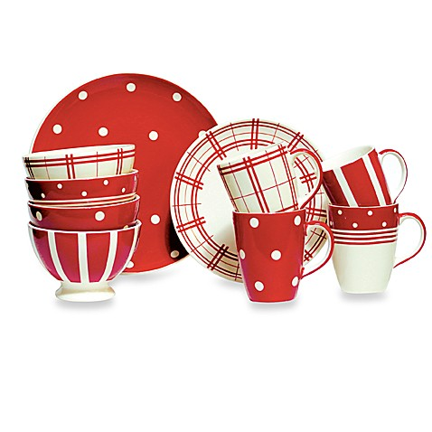 Kitchen red 11 inch dinner plate set of 4 bed bath for Kitchen set plates