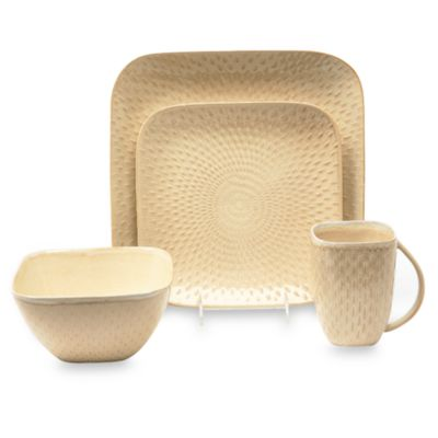 Baum Boxstitch 16-Piece Dinnerware Set in Linen