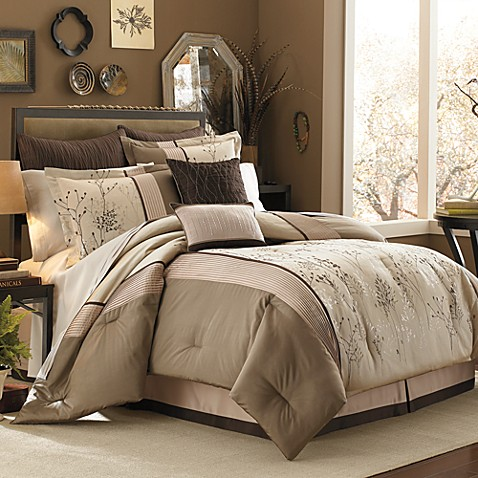 hill lark brown 8 piece complete comforter set bed bath beyond