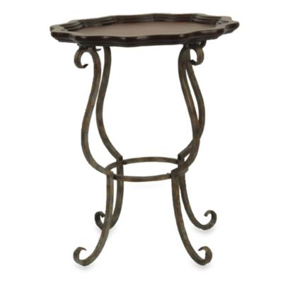 Safavieh American Home Lorraine Scalloped Cherry/Iron Side Table