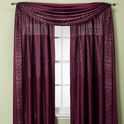 Bohemia Rod Pocket/Back Tab 108-Inch Window Panel in Purple