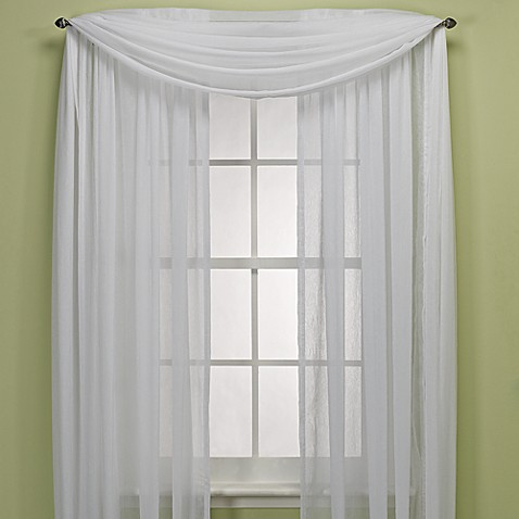 "Crushed Voile Sheer 95"" Rod Pocket Window Curtain Panel"