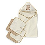 Spasilk Hooded Towel with Matching Washcloths - Teddy Bear