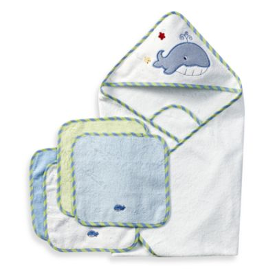 Spasilk Hooded Towel with Matching Washcloths - Whale