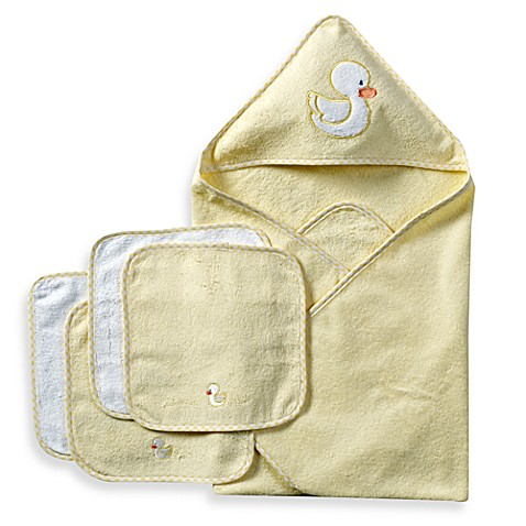 Spasilk® Hooded Towel with Matching Washcloths - Duck