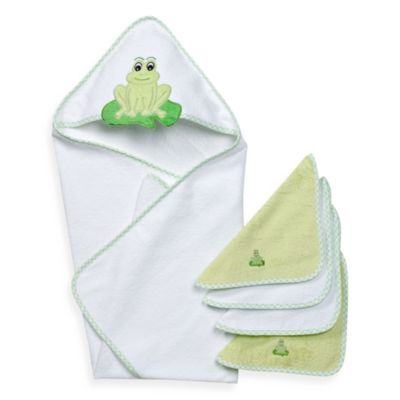 Spasilk® Hooded Towel with Matching Washcloths - Frog