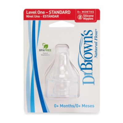 Dr. Brown's® 2-Pack Natural Flow® Silicone Wide-Neck Baby Bottle Nipples in Level 1