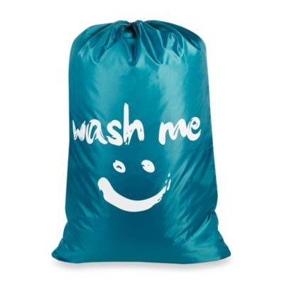 Novelty Laundry Bag in Wash Me/Blue