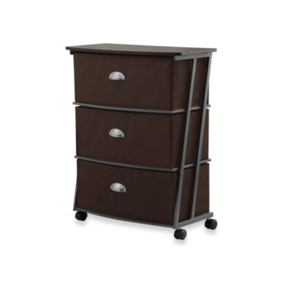 Brown Z Wide 3-Drawer Cart