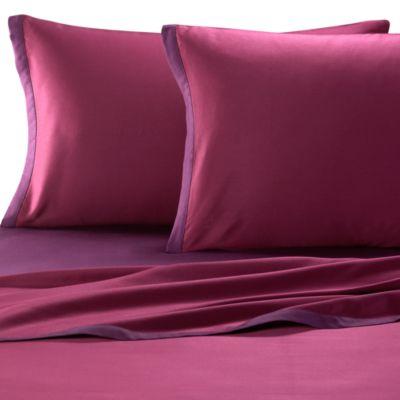 KAS® Two Tone Full Sheet Set in Plum/Berry