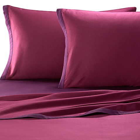 KAS® Two Tone California King Sheet Set in Plum/Berry