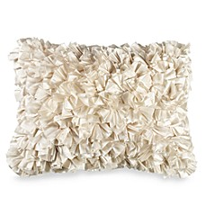 Extreme Ruffles Decorative Throw Pillow in Ivory