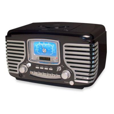 Crosley Corsair Clock Radio with CD Player in Black