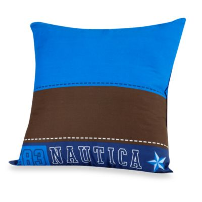 Nautica Kids® Drew Brown and Blue 16-Inch Square Toss Pillow