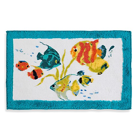 Rainbow fish bath rug bed bath beyond for Fish bath rug