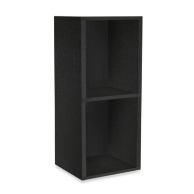 Way Basics Tool-Free Black 2 Shelf Bookcase and Storage in Black
