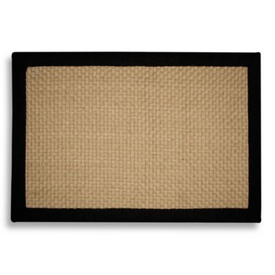 Jute Basketweave 2-Foot x 3-Foot Accent Rug with Chenille Border in Black