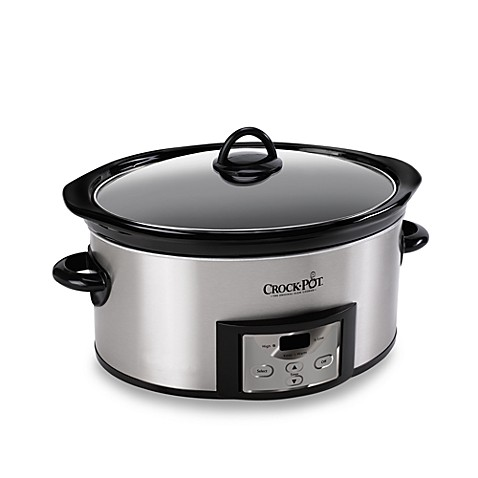 crock pot programmable 6 quart slow cooker stainless steel crock