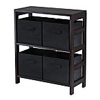 Capri 2-Tier Storage Shelf with 4 Foldable Baskets in Black